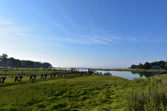 Promenaden-Gehweg heraus zu Duxbury-Bucht in Massachusetts Stockfotos