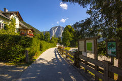 The promenades on Altaussee , Austria. Altaussee is a municipality and spa town in the district of Liezen in Styria, Austria. The community center is located in Stock Image
