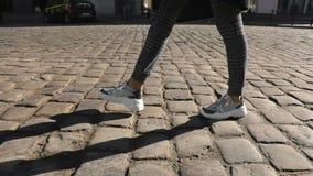 Promenades de fille sur la route de brique banque de vidéos