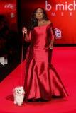 Promenades de Jones d'étoile la piste au rouge d'aller pour la collection rouge 2015 de robe de femmes Images libres de droits