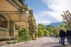 The promenades of Merano, South Tyrol, Italia. The most beautiful promenade in Merano is, however, the Tappeiner Trail, crossing the sunny south side of the Kü Stock Photo