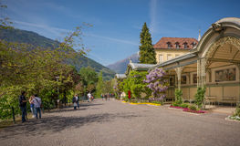 The promenades of Merano, South Tyrol, Italia. The most beautiful promenade in Merano is, however, the Tappeiner Trail, crossing the sunny south side of the Kü Royalty Free Stock Photography