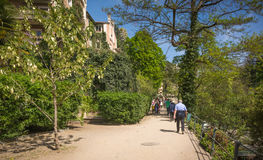 The promenades of Merano, South Tyrol, Italia. The most beautiful promenade in Merano is, however, the Tappeiner Trail, crossing the sunny south side of the Kü Stock Photography