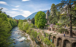 The promenades of Merano, South Tyrol, Italia. The most beautiful promenade in Merano is, however, the Tappeiner Trail, crossing the sunny south side of the Kü Stock Image