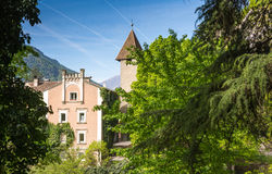 The promenades of Merano, South Tyrol, Italia. South Tyrol& x27;s historical buildings. The most beautiful promenade in Merano is, however, the Tappeiner Stock Image