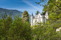 The promenades of Merano, South Tyrol, Italia. South Tyrol& x27;s historical buildings. Stock Photography