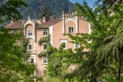 The promenades of Merano, South Tyrol, Italia. South Tyrol& x27;s historical buildings. Stock Image