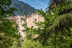 The promenades of Merano, South Tyrol, Italia. South Tyrol& x27;s historical buildings. Royalty Free Stock Image