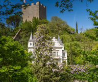 The promenades of Merano, South Tyrol, Italia. South Tyrol& x27;s historical buildings. Stock Photos