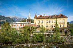 The promenades of Merano, South Tyrol, Italia. South Tyrol& x27;s historical buildings. Stock Photo