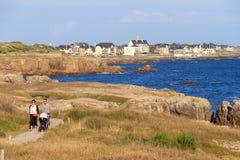 Promenera den franska kustlinjen Fotografering för Bildbyråer