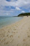 Promenera stranden av gåtaön i Vanuatu Arkivfoto