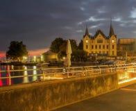 Promenieren Sie entlang Geneva See in Vevey, die Schweiz Stockfotos