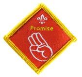 Promesa - divisa de la actividad del explorador Imágenes de archivo libres de regalías