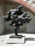 Prometheus en adelaarsstandbeeld dichtbij Pretoriaans Paleis in Prato royalty-vrije stock afbeeldingen