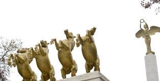 PROMETHEUS, Monument von Helden in Skopje Mazedonien lizenzfreie stockfotos