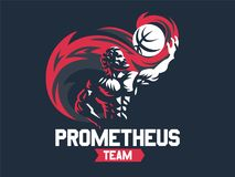 Prometheus and a sports ball. Sports emblem. vector illustration