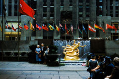 Prometheus Statue in Rockefeller Center Circa 1950's Royalty Free Stock Images