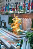 Prometheus Statue on Rockefeller Center in New York City. NEW YORK CITY, USA - JUNE 21, 2016: Prometheus Statue on Rockefeller Center in New York City Royalty Free Stock Photography