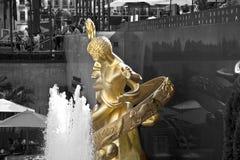PROMETHEUS-Statue und -brunnen Gold der linken Seite an Rockefeller-CEN Lizenzfreie Stockfotografie