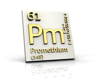 Promethium form Periodic Table of Elements Royalty Free Stock Photos
