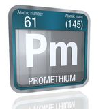 Promethium symbol in square shape with metallic border and transparent background with reflection on the floor. 3D render. Element number 61 of the Periodic stock illustration