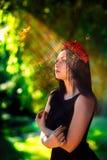Promień słońce przy twarzą goth model Zdjęcie Royalty Free