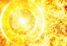 Promienia promień gorąca planeta na pożarniczych płomieni tło Zdjęcia Royalty Free