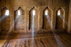 Promienie światło słoneczne w Amridil Kasbah, Maroko - zdjęcie stock