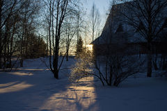 Promienie położenie zimy słońce Zdjęcie Stock