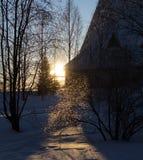 Promienie położenie zimy słońce Fotografia Stock