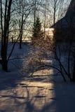 Promienie położenie zimy słońce Obrazy Royalty Free