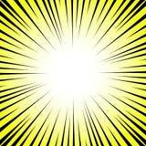 Promieniowe linie na żółtym i białym tle Komiks prędkość, wybuch Wektorowa ilustracja dla graficznego projekta royalty ilustracja