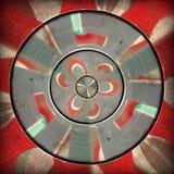 Promieniowy czerwony szary kółkowy abstrakta wzór Obraz Royalty Free