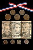 Prominent Americans. Prominent American's featured on various US coins and bills Royalty Free Stock Photos