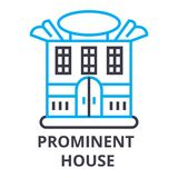 Prominent house thin line icon, sign, symbol, illustation, linear concept, vector. Prominent house thin line icon, sign, symbol, illustation, linear concept Royalty Free Stock Images