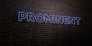 PROMINENT -Realistic Neon Sign on Brick Wall background - 3D rendered royalty free stock image. Can be used for online banner ads and direct mailers Stock Photography