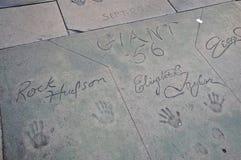 Promis ` Handprints im Vorhof des chinesischen Theaters, Hollywood Stockbilder