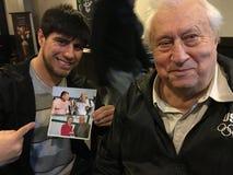 Promis: Unbesiegter Boxer Bakhtyar Eyubov und russischer Arnold Maliyevsky Autor Lizenzfreies Stockbild