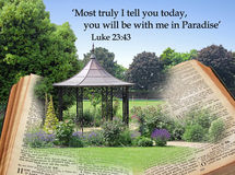 Promise of bible paradise. Photo of paradise garden rising from the pages of open bible depicting jesus promise of paradise Royalty Free Stock Images
