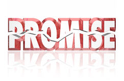 Promise Broken Cracked 3d Red Word stock illustration