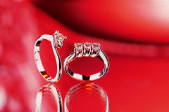 Promise of marriage. Still life of golden rings with brilliants Royalty Free Stock Image