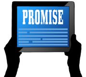 PROMISE on tablet screen, held by two hands. Illustration Stock Images