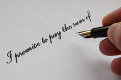 Promise to pay. Hand written 'promise to pay, with fountain pen stock images