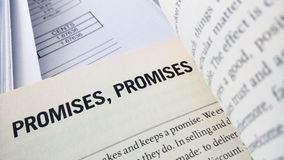 Promise word on the book Royalty Free Stock Image