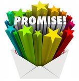 Promise Word Guarantee Oath Vow Pledge Obligation Note in Envelo. Promise word in an envelope to illustrate an oath, guarantee, vow, pledge or obligation to Royalty Free Stock Image