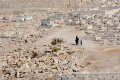 On The Promised Land. An old man and his grandson are walking down the cemetery in the Kidron Valley in Jerusalem, Israel Royalty Free Stock Image