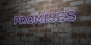PROMISES - Glowing Neon Sign on stonework wall - 3D rendered royalty free stock illustration. Can be used for online banner ads and direct mailers Royalty Free Stock Photography