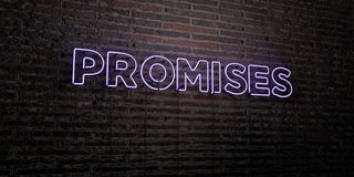 PROMISES -Realistic Neon Sign on Brick Wall background - 3D rendered royalty free stock image. Can be used for online banner ads and direct mailers Stock Images