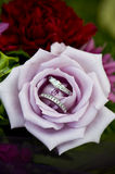 Promises in a Rose. Beautiful diamond wedding ring and a wedding band nestled in a purple rose Stock Images